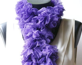 Crocheted purple violet lace ruffle scarf, it is about 130 cm.