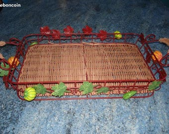 Vintage WICKER and Metal basket with pumpkins round