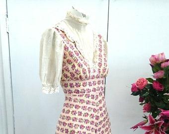 True Vintage 1970s 'Sherman of London' Victorian Edwardian Inspired Boho Hippie Dress - Size XS 100% Cotton Frills Floral Lace