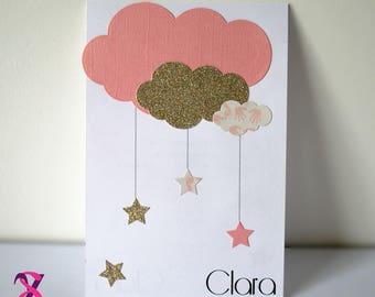 Cloud theme girl birth announcement