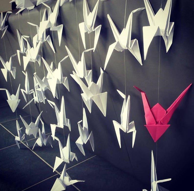 Curtain Garland origami cranes 50 cranes colors 10 cranes image 0