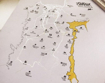 photograph about Fallout 4 Printable Map identified as Fallout 4 map Etsy