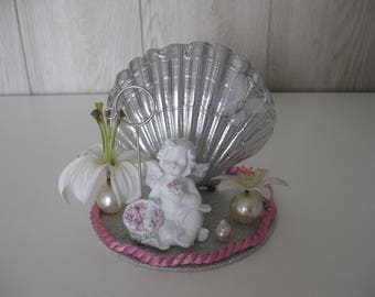 Angel and shell photo holder