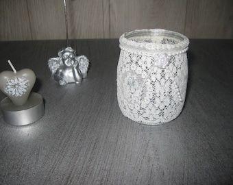 Tealight/candle holder glass lace Pearl