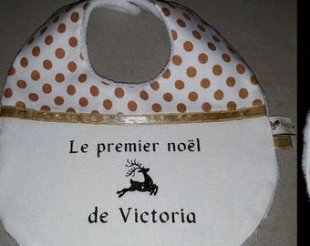 "To order Christmas Baby bib ""first Christmas"" personalized name"