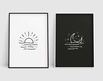 photo relating to Printable Picture of the Sun known as Sunshine and moon print Etsy