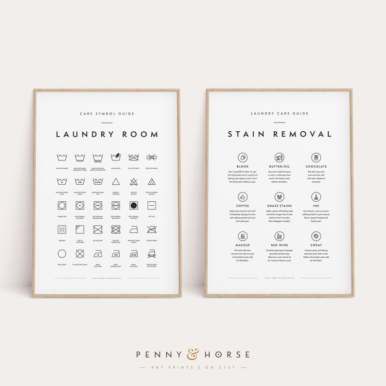 Laundry Room 2 Print Set Printable Art Laundry Wall Decor image 0