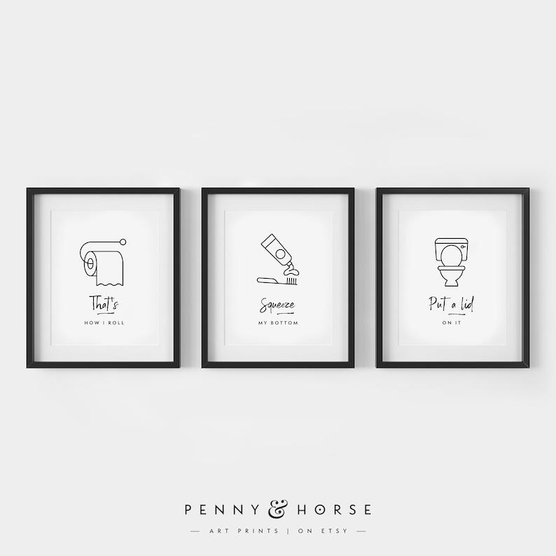 Digital Printable Art Minimal Funny Wall Art Funny Bathroom Signs Set of 3 Bathroom Wall Decor Bathroom 3 Print Set Kids Bathroom Art