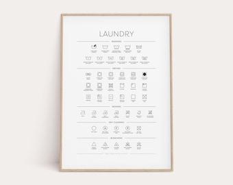 Laundry Room Symbols Guide, Printable Minimal Wall Art, Laundry Art, Laundry Room Sign, Laundry Symbols, Laundry Room Decor, Wash, Dry, Iron