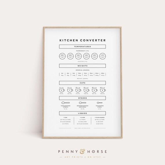 Kitchen Guide Printable Chef Gift Kitchen Cheat Sheet Kitchen Conversion Printable Chart Farmhouse Kitchen Rustic Kitchen Decor