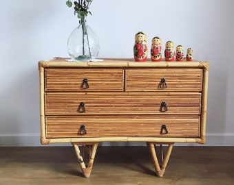 Reserved - Chest of drawers vintage rattan