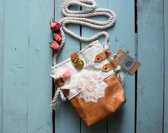 Mini bag embroidered mini bag, mini leather bag, mini bag colorful, mini bag ecru