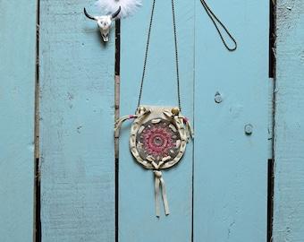 Medicine bag ecru, medicine bag leather, embroidered, jewel necklace mandala, Indian necklace