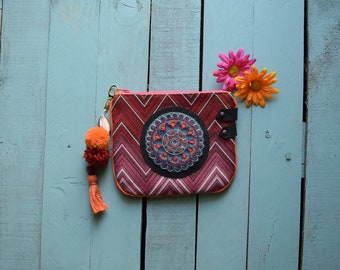 Hippie pouch, leather pouch embroidered clutch bag pouch