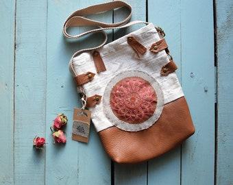 Leather bag, embroidered bag, mandala, hippie bag, embroidered bag hippie bag ecru