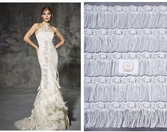 2018 New Eyelash Tassels Lace Fabric, Bridal Lace Fabic, Guipure French Lace Fabric For Wedding Dress