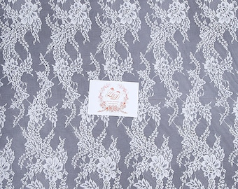 High-end Bridal Lace 3Meters Lenght Chantilly Lace Fabric Flower Pattern for Wedding Dress French Lace Underwear Lace Fabric