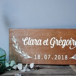 Wooden sign with the names of groom wedding date and country decor