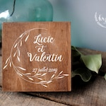 Wooden personalized wedding ring bearer