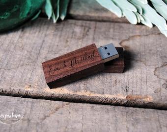 Custom 3.0 wooden USB key perfect for a digital wedding photo album