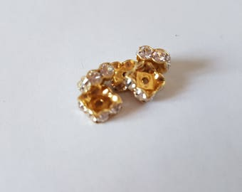 8MM square gold Crystal spacer beads