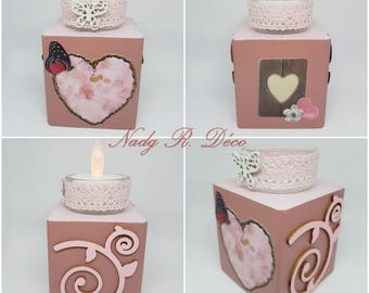 Square candle holder pink recycled wood heart-shaped handcrafted handmade - romantic