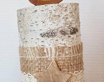 Decorative wood natural Birch - imitation candle holder