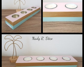 Recycled wooden candlestick - 4 gold metal insert pink and blue/green