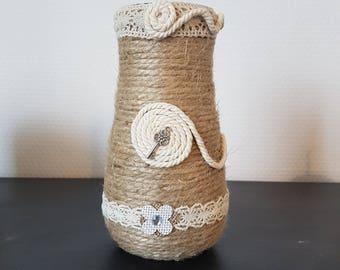 glass covered rope jute hemp decorative padlock and key