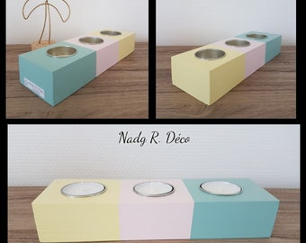 Wood Bougeoir Recycled pastel colors 3 candles - handmade