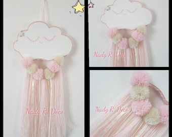 Hanging cloud and tassels - pink-ivory-white - catches dreams softness - handmade