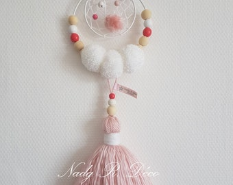 Catches dream wall hanging pink and white tassels handmade
