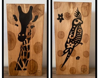 GirAFE decoration and PARROT solid wood Recto - Verso