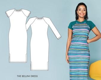 Bellini / Knit Dress Pattern / Women's Tshirt Dress Pattern / Serger Dress Pattern / Women's Sewing Patterns