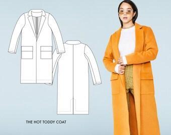 Hot Toddy // Wool Coat Sewing Pattern - Winter Coat Pattern - Long Women's Coat Pattern / Beginner Sewing
