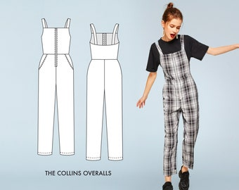 Collins Overalls Sewing Pattern / Coveralls Sewing Pattern / Utility Jumper Sewing Pattern/ Women's Coveralls Sewing Pattern
