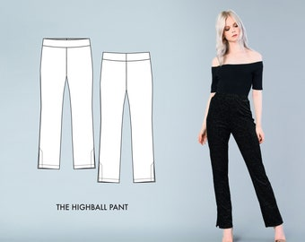 Highball Pant // High Waisted Pants Pattern / Cigarette Pants / Women's Trousers Pattern for Knit Fabric / Sewing Patterns