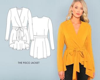 Pisco Jacket // Stretchy Women's Jacket Pattern - Knit Sewing Pattern - Light Jacket Sewing Pattern for Knit Fabrics / Serger Pattern