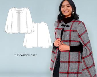 Caribou Cape // Wool Cape or Cloak Sewing Pattern - Winter Coat Pattern - Beginner Outerwear Sewing Pattern for Boiled Wool / Wool Coatings