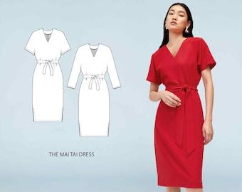 Mai Tai // Kimono Sleeve Dress Sewing Pattern. Office Dress or Casual Dress Pattern. // PDF Sewing Patterns for Women