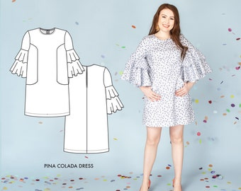 Short Cocktail Dress/Shift Dress Sewing Pattern.