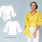 Wrap Shirt Beginner Sewing Pattern for Ruffle Sleeve Top.