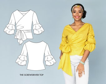 Wrap Shirt Beginner Sewing Pattern for Ruffle Sleeve Top / PDF Sewing Patterns for Women