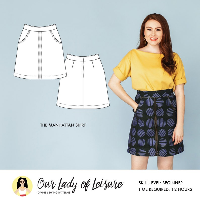 Easy Skirt Pattern with Pockets / Women's Skirt Sewing image 0