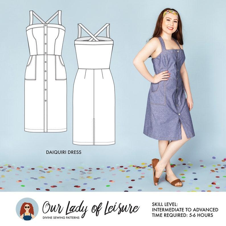Denim Dress Pattern. Ladies Pinafore Overalls Dress image 0