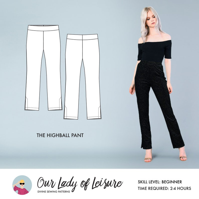 Highball Pant // High Waisted Pants Pattern / Cigarette Pants image 0