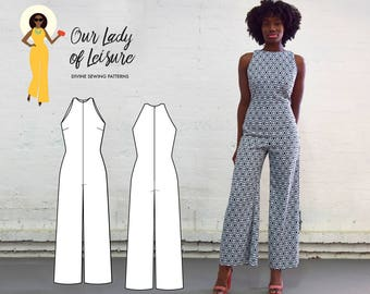 PDF Jumpsuit Pattern - The Paloma Jumpsuit PDF Pattern - Women's Sleek Palazzo Jumpsuit Sewing Pattern - Standard and Plus Size Patterns