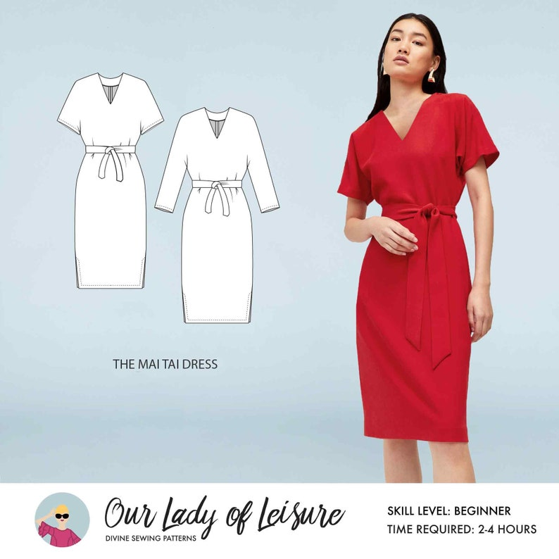 Mai Tai // Kimono Sleeve Dress Sewing Pattern. Office Dress or image 0