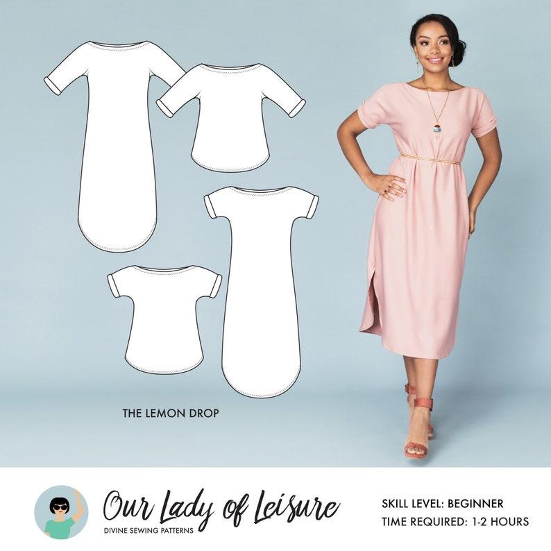 Lemon Drop // Stretch Knit Fabric Dress Pattern Boatneck and image 0
