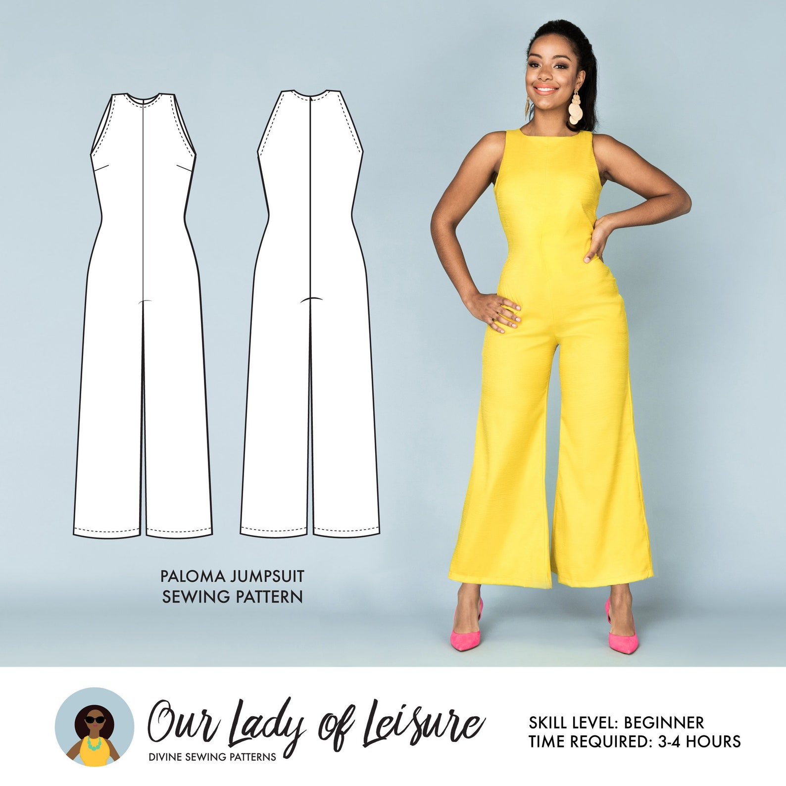Paloma // Wide Leg Jumpsuit Pattern. Palazzo Jumpsuit for Beginner Sewing.